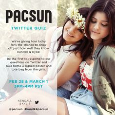 Hey there our little Dash followers ! It's Kendall and Kylie. First, of all, thank you for following us. It's a bless to have so much fans. We lobe you so much and we hope that one day we're going to meet you all. So, let's go with out PacSun Line. @PacSun is going to make a Twitter Quiz and join. You're gonna get a a signed poster and a tote bag if you win ! <3 Love ya all ! ! ! <3 <3 <3 <3 <3