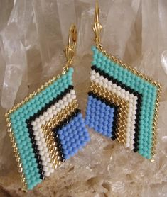 Beadwoven Diamond Shape Earrings  Periwinkle/Seafoam by pattimacs
