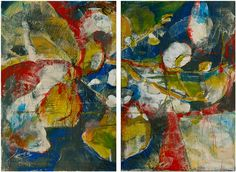 acrylic, canvas, framed, blue, red, gray, graphite, mixed media, impasto, diptych, set