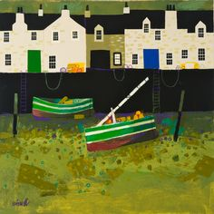 Two Boats, Low Tide by George Birrell, mixed media, 50x50cm