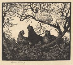 """Lionel Lindsay (Australian, - """"The roost"""" from the """"Twenty-one woodcuts"""" series - Wood engraving Australian Painters, Australian Artists, American Artists, The Barnyard, Master Of Fine Arts, Wood Engraving, Woodblock Print, Print Pictures, Printmaking"""