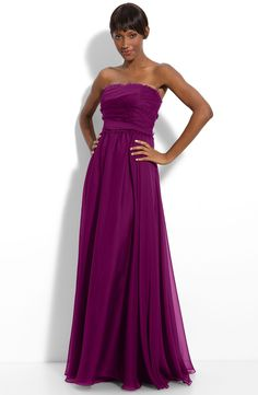 More fuchsia love! ML Monique Lhuillier Bridesmaids Strapless Chiffon Gown (Nordstrom Exclusive)