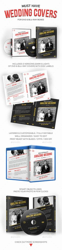 Wedding DVD / Blu-ray Covers with Disc Labels