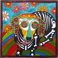 "Abby, the Dachshund. 6""x6"", acrylic and pen on wood. To order a portrait of your pet, please email me at robiniartist@gmail.com, call 512-963-4892, or visit www.robiniart.com. Great prices! Sugar Skull. Day of the Dead. Dia de los Muertos. Dachshund  portrait. Dachshund art. Dog art. #art, #design"
