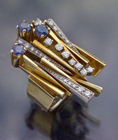Diamond Rings : Gold, sapphire and diamond ring. - Buy Me Diamond Jewelry Art, Antique Jewelry, Jewelry Accessories, Vintage Jewelry, Fine Jewelry, Fashion Jewelry, Jewelry Design, Jewellery, Boho Jewelry