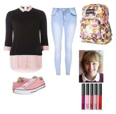 """Grace vanderwaal"" by eviktoriae on Polyvore featuring Dorothy Perkins, Glamorous, Converse and JanSport"