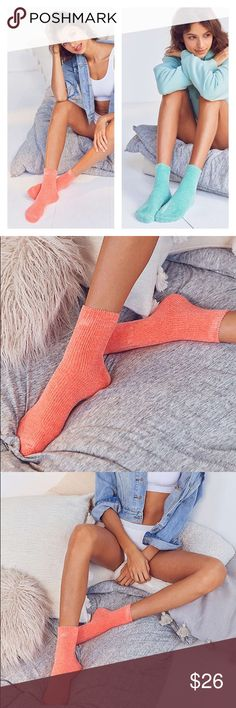 """NWT UO BUNDLE Of 2 Pairs 🔥 Velvety Socks Snuggle up in these soft + ultra-cozy chenille socks by Out From Under. Rib knit sock cut above ankle in a plush chenille. 🔥Polyester, elastane 🔥Machine wash 🔥One size 🔥Cuff height: 5.3"""" Urban Outfitters Accessories Hosiery & Socks"""