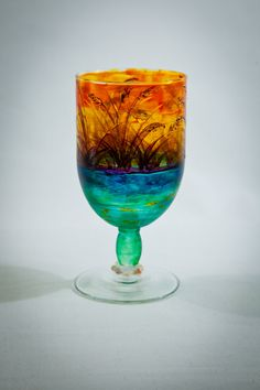 Handpainted Sunset Wine Glass with Shell by RobertasPaintedHouse, $34.99