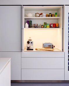 Kitchen Architecture - Home - Modern monochrome Small Cupboard, Kitchen Cupboard Designs, Kitchen Room Design, Modern Kitchen Design, Kitchen Layout, Home Decor Kitchen, Interior Design Kitchen, Home Kitchens, Kitchen Ideas
