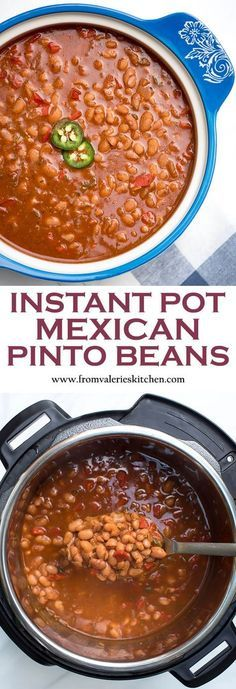 instant pot recipes Dry pinto beans cook up perfectly tender in a deliciously seasoned sauce in about an hour! These saucy Instant Pot Mexican Pinto Beans are a fantastic side dish option for a variety of entrees. Mexican Beans Recipe, Mexican Pinto Beans, Mexican Food Recipes, Homemade Chili Beans Recipe, Beans In Crockpot, Crockpot Recipes, Cooking Recipes, Healthy Recipes, Keto Recipes