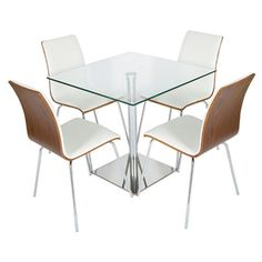 Luca square glass #diningtable with 4 Rimini walnut white #chairs is an excellent choice for any #style conscious home owner. It is ideal for cafes, bars or for your home.