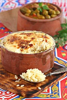 """This recipe is an authentic Egyptian rice dish that is super easy to make. It is called Me'amar Rice Casserole, or Rice.Bram """"an open casserole with high Midevil Food, Egyptian Food, Egyptian Recipes, Arabic Recipes, Roasted Chicken And Potatoes, Roast Chicken, Eastern Cuisine, Tasty, Yummy Food"""