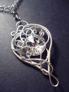 Romantic swarovsky crystal pendant in silver - wire wrapped jewelry on Etsy