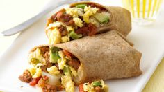 Breakfast Burritos filled with Eggs, Potatoes, Peppers, Chorizo, Avocado, and Monterey Jack. Hungry yet? Serves 4. Total Cost: $7.02