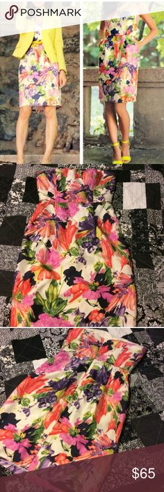 """J. Crew floral strapless dress  Gorgeous """"Ella"""" style silk strapless dress. Has an extra built in bra for more support. Perfect condition worn one time. Has pockets this dress is just so perfect! Too small for me now . Would trade for a size 4 in this dress❤️❤️ J. Crew Dresses Mini"""