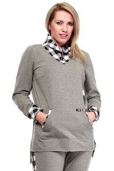 Plaid trim accents a laid-back look with classic style, while A hi-low hem adds on-trend detail. Stretch-kissed cotton offers all-day comfort. Size note: This item runs in European sizing. Please refer to the size chart. White Plaid, Classic Style, High Neck Dress, Turtle Neck, Grey, Sweaters, Cotton, Tops, Dresses