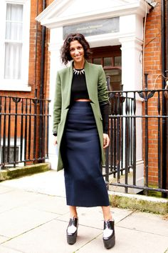 Yasmin Sewell in Peridot London coat and Miu Miu skirt