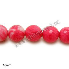 Gemstone Beads, Red Vein Jade, Faceted round, Approx 18mm, Hole: Approx 1.2mm, 22pcs per strand, Sold by strands