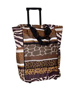 Home Essentials and Beyond Rolling Tote Bag Animal Print, Multi