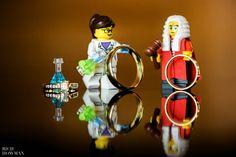 Lego people holding wedding rings - Coombe Lodge wedding