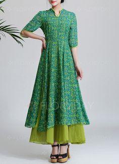 https://www.floryday.com/pl/Szyfon-Kwiatowy-Pol-Rekaw-Maxi-Vintage-Sukienki-m1014429