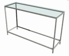 """Soho Console Table by TFG. $499.00. Safe and scratch resistant surface. Thinner profile frame perfect for smaller spaces. Smooth and absolutely seamless corners. Used special welding technique. 0.75 in. square stainless steel tubes frame. 12830.02.333 Features: -Thinner profile frame perfect for smaller spaces.-Frame constructed with 0.75"""" square tubes.-Glass is 0.625"""" thick which provides a safe and scratch resistant surface.-Corners are smooth and absolutely seamless..."""
