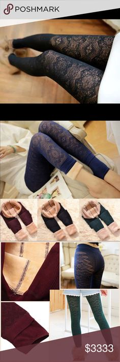 Winter Lace Leggings ⭐️COMING SOON⭐️Beautiful fleece lined lace leggings! Colors: Black/Wine/Navy/Green  Like or comment to be noticed upon arrrival! Pants Leggings