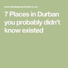 7 Places in Durban you probably didn't know existed Green Corridor, 7 Places, Holiday Activities, Wanderlust, Tours, Marketing
