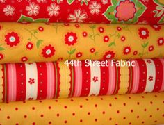 Delighted Fabric Red and Yellow 4 Yard Bundle #fabric