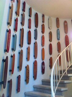 Skateboard museum at skatopia has better color and more interesting texture. this shot is a reminder to shoot the museum. Skateboard Decor, Skateboard Rack, Skateboard Outfits, Skateboard Design, Old School Skateboards, Vintage Skateboards, Deco Surf, Skate And Destroy, Skate Art