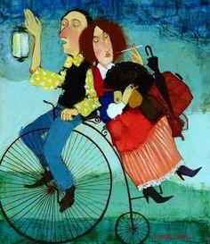 Goingfor a picnic Otar Imerlishvili (Georgian artist) Bicycle Painting, Bicycle Art, Georgia, Saul Leiter, People Art, Art School, Art Forms, Folk Art, Contemporary Art