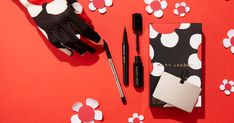 Fresh picked. Introducing The Blacquer Eye, a limited-edition collection #Highliner Gel Eye Crayon and Magic Marc'er Waterproof Liquid #Eyeliner in the shade #Blacquer, mini #VelvetNoir Major Volume #Mascara and a mirror. #Entry