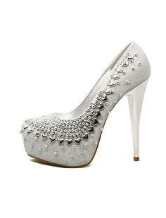 Chaussures de mariée paillettes de perles argent chaussures de haut talon  pompes plate-forme