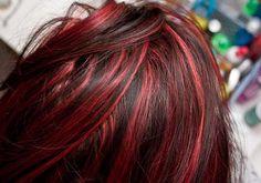Black Hair Red Highlights   Medium Hair Styles Ideas - #32834