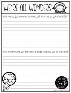 A New Favorite: We're All Wonders - Create Teach Share Wonder Novel, Wonder Book, 4th Grade Writing, 5th Grade Reading, Fourth Grade, Student Teaching, Teaching Reading, Teaching Ideas, Learning