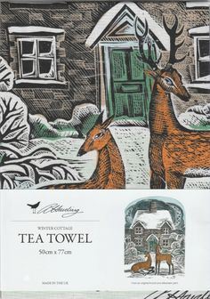 Winter Cottage Tea Towel - Illustrated Living