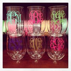 Personalized acrylic stemless wine glass.   Great bridesmaid gifts.