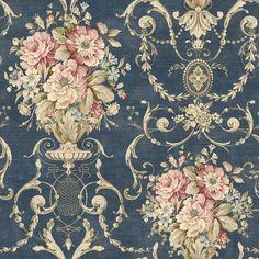 Wallpaper design Wallpaper Rose vines-pink-blue-beige-green reed-ocher-noble Source by