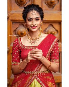 Check out some of the exotic ethnic wears for this season by the brand Anju Shankar Official. Wedding Saree Blouse Designs, Half Saree Designs, Silk Saree Blouse Designs, Fancy Blouse Designs, Blouse Neck Designs, Blouse Patterns, Half Saree Lehenga, Lehenga Saree Design, Lehenga Designs