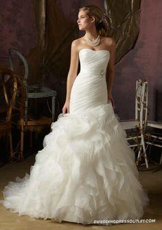 Ruffled Organza Mermaid Soft Dipped Strapless Wedding Dress