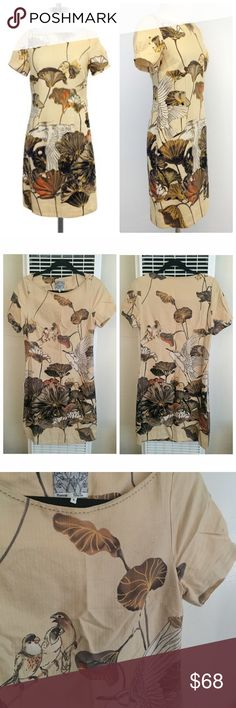 "Anthropologie FLOREAT SNOWY EGRET Shift Dress Product Description Size 4 Beige Floral Bird Print Dress(Missing Sash Belt) Body 100% Cotton Lining 100% Acetate Concealed side zip Short sleeves Measurements (Approx): Bust 34"" Waist 28"" Total length 36"" Anthropologie Dresses"