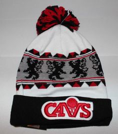 e566c4711cc New Era Cleveland Cavaliers NBA Red White Black Beenie Cap Hat New  NewEra   Beanie
