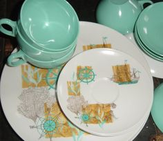 Vintage Aqua Nautical Ship Melmac Kitchenware Set Plates Bowls Tea Cups Oneida Deluxe16 Piece Set
