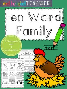 This packet is 5 pages for the -en Word Family;*Flashcards for students to take home, color, and practice reading*Beginning sounds*Alphabetical Order*Word Family Identification (cut and paste)*Word Family Identification (coloring)
