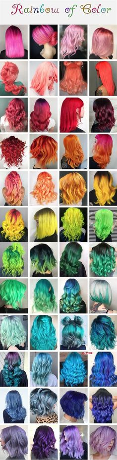 Rainbow of hair color inspiration. # hair color inspiration # rainbow Rainbow of hair color inspirat Cute Hair Colors, Pretty Hair Color, Beautiful Hair Color, Hair Dye Colors, Cinnamon Hair, Pelo Multicolor, Crazy Colour, Dream Hair, Rainbow Hair