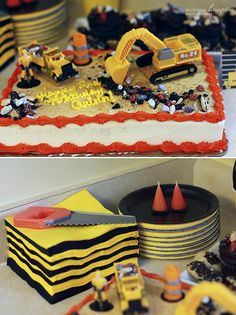 Construction Truck Cake - We used a saw to make the first cut!