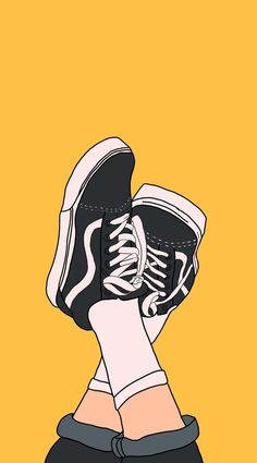 Top Nice Lock Screen Iphone X Wallpaper vans off the wall sneakers, on a yellow background, cute background pictures - 2020