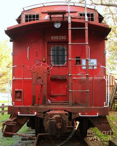 Red Sante Fe Caboose Train///years ago, when you saw this car, it was the end of the line.