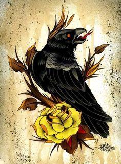 Raven tattoo design.