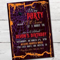 It's My Party and I'll Scare if I want to Halloween Party Invitation PRINTABLE by partymonkey on Etsy